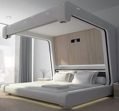 "Name after the Roman god of sleep, Somnus, and neu the German for ""new"" the new design is predicted to be the ""world's most advanced bed"" (Govorko in FC, Bedroom False Ceiling Design, Bedroom Bed Design, Home Decor Bedroom, Modern Bedroom, Futuristic Bed, Bed Furniture, Furniture Design, Pod Bed, Pallet Bed Frames"