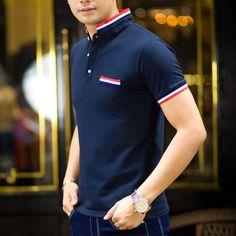image Polo Shirt Style, Polo Shirt Outfits, Polo Shirt Design, Polo Design, Tee Shirt Designs, Custom Polo Shirts, Polo T Shirts, Mens Shirt Pattern, Cool Shirts For Men