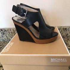 3b32e64ce0 MICHAEL Michael Kors Shoes | Michael Kors Josephine Wedge Platform Sandals  | Color: Black/