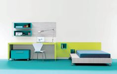 teen room, Great Teen Room Decor Green Desk Modern Interior Bedroom Table Lamp Study Lamp White Chair Blue Bed Green Study Table Blue Flooring Wallshelves Teen Bedroom Design Ideas White Wall: Cool Teens Room Design in Minimalist Colorful Concept