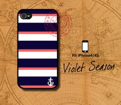 Nautical Navy Stripe anchor Iphone 4 case, Iphone 4S case, Plastic hard case, Waterproof Iphone 4s case on Etsy, $6.99