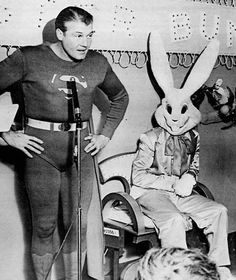 You'll never unsee this terrifying but photo of #GeorgeReeves' #Superman and the #EasterBunny. #HappyEaster everybody! #Easter #EasterSunday #Easter2017 #