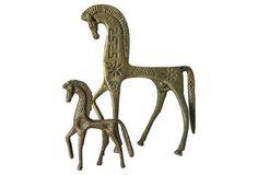 Midcentury Brass Etruscan Horses, S/2