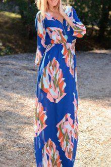 V-Neck Geometric Print Maxi Dress