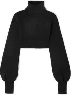 ShopStyle Look by NimishaJaggi featuring Orseund Iris - Cropped Ribbed-knit Turtleneck Sweater - Black and boohoo Oversized Knitted Box Crop Top Kpop Fashion Outfits, Edgy Outfits, Cute Casual Outfits, Grunge Outfits, Cute Fashion, 80s Fashion, Petite Fashion, Fashion Styles, Fall Fashion