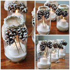 Wintery candle mason jars