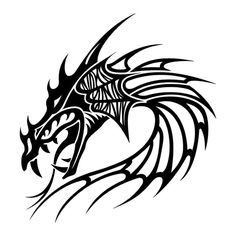 Tattoo picture inspiration: 4 Tribal Head Dragon Tattoos For Men-cool