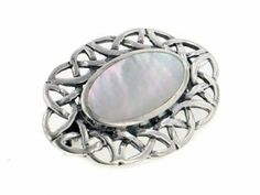 """Sterling Silver Celtic Knot Mother of Pearl Pin Brooch Silver Insanity. $39.98. Weight is About 6 Grams. Marked 925 for Sterling Silver. 1&5/16"""" Long and 15/16"""" Wide. 10x18mm Oval Inlaid Mother of Pearl"""