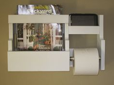 Toilet paper holder with magazine rack and cell phone by WoodHound