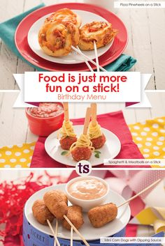 Food is just more fun on a stick! │ Pizza Pinwheels on a Stick Recipe │Spaghetti & Meatballs on a Stick Recipe │ Mini Corn Dogs with Dipping Sauce Recipe Pizza Pinwheels, Tastefully Simple Recipes, Mini Corn Dogs, Birthday Menu, Food On Sticks, Spaghetti And Meatballs, Party Recipes, Bite Size, Party Stuff