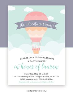 Hot Air Ballon Baby Shower Invitation by Clink Paper