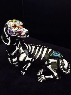 Sugar Skull Day Of The Dead Dotson Dachshund Weiner Dog Figurine Art Hotdog