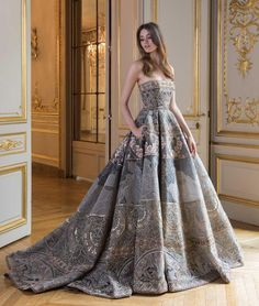 "Paolo Sebastian ""Reverie • PSAW'18 02 Ball gown with scene embroidery and beadwork featuring goddesses and cherubs…"""