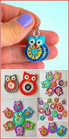 Pendants Pendants Record of Knitting String rotating, weaving and stitching jobs such as BC. Owl Crochet Patterns, Crochet Owls, Love Crochet, Crochet Baby, Crochet Appliques, Diy Crafts Crochet, Crochet Projects, Crochet Keychain, Crochet Earrings
