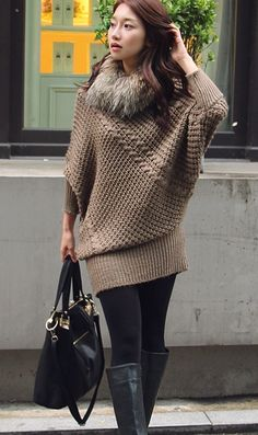 Dolman-sleeve sweater dress and leggings combo... so pretty! Just don't like the fur.