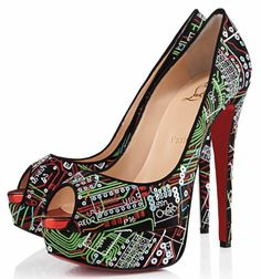 Who'd have thought Christian Louboutin was a computer geek? These are cool, but I'd never be able to wear heels this high and walk too.