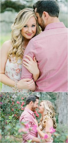 Charleston engagement photos at Magnolia Plantation in the spring with the pink flowers.