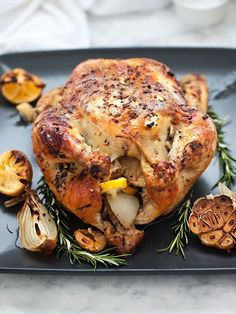 Oven Roasted Chicken with Lemon Rosemary Garlic Butter - Foodie Crush Roast Chicken Lemon Rosemary, Oven Roasted Chicken, Roast Chicken Recipes, Lemon Chicken, Turkey Recipes, Meat Recipes, Dinner Recipes, Cooking Recipes, Healthy Recipes