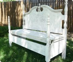 Queen size head board turned bench by Twice Lovely!
