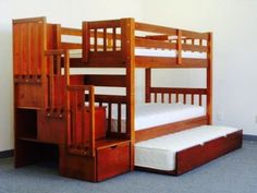 BunkBeds King Queen Twin Room Cappuccino Kids Boys Girls Furniture Guests Stairs