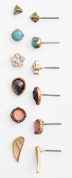 Dainty stud earrings set. One for almost every day of the week!