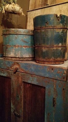 *Fabulous blue painted cupboard, firkin and bucket!