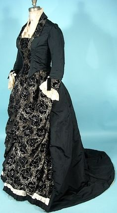 Silk Soft Black Cut Velvet 2-pieces Trained Gown with Handmade Ivory Lace Trim, c. 1880's.