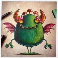 Monster doodle from sketchbook! I'm loving the toadstool hair