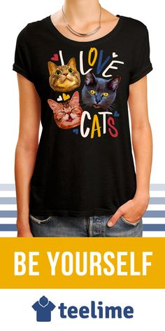 """I Love Cats"" T-shirt for all cat lovers around. Show how much you love cats with this t-shirt and many others by Teelime. Different styles and colors available too."