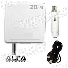 ALFA NETWORK - Kit Alfa Network Tube-U (N) 1000mW + Antena Panel Vcer 20 dBi + cable :: Wifi-Online Shop Nuevo kit wifi sin cables entre antena y adaptador. Señal limpia y potente: