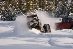 Rock crawler playing in the snow