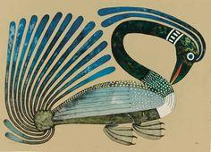 Kenojuak Ashevak - Long Necked Loon x lithograph edition 50 (Cape Dorset print collection Arte Inuit, Inuit Art, Illustrations, Illustration Art, Art Magique, Art Brut, Native American Artists, Canadian Art, Native Canadian