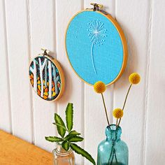 Embroidery Hoop Art Itching to get stitching? Embroider these fresh designs and admire your handmade works in a hangable hoop.