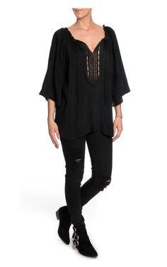 Topp Silky Lace Tunic BLACK - FAV - Designers - Raglady