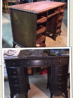 Antique dresser painted black with some natural wood peeking through.