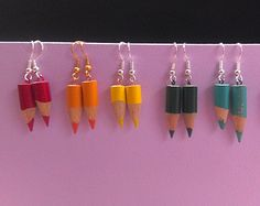Coloured Pencil Dangle Earrings Upcycled Crayon Drawing