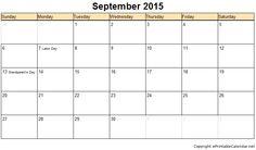 September 2016 Calendar Printable With Holidays 2016 Calendar, Printable Calendar Template, Free Printables, September Calendar, November, Holiday Calendar, Grandparents Day, Templates