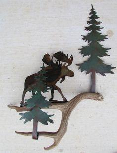 Rustic Moose in the Pines Antler Crafts, Antler Art, Wood Crafts, Western Decor, Rustic Decor, Metal Art, Wood Art, Moose Lodge, Moose Decor