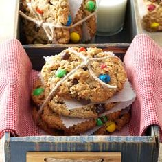 Giant Monster Cookies-Who can resist a gigantic cookie chock-full of goodies like chocolate chips, M&M's and peanut butter? If your appetite isn't quite monster-size, make them by heaping tablespoonfuls.