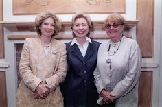 Carey Lovelace and Michelle Stuart with Hillary Rodham Clinton