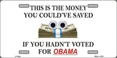 Money Saved if hadnt voted for OBAMA License Plates Plate Plates Tag Tags auto vehicle car front