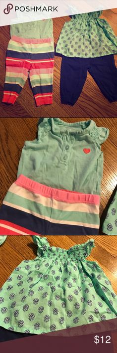 Carters // outfit bundle Super cute tank top/pants outfits from carter's. Great to be used together or separately. Tank on left is a onesie with embroidered heart. Each only worn once. In excellent condition. Carter's Matching Sets
