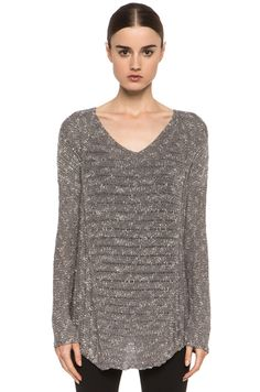 HELMUT Helmut Lang Caged Boucle Curved Hem Pullover in Gray