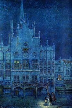 Anton Pieck Dutch painter, graphic artist,watercolour, etchings, woodcarvings, engravings - night