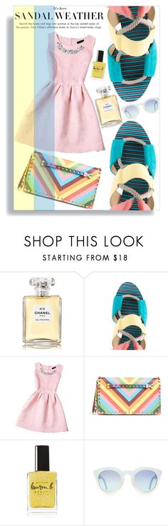 """Sandals"" by thestrawberryfields ❤ liked on Polyvore featuring Chanel, Jimmy Choo, Valentino, Lauren B. Beauty, girly, polyvorecontest and summersandals"