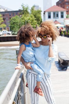 London and her Mom Chambray hues Look