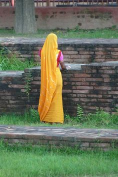 India woman with Sari. I love the bright yellow with a touch of magenta.