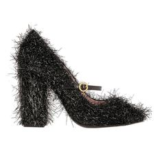 The New Party Shoes to Try Now   Moschino Tinsel-Covered Leather Mary Jane Pumps