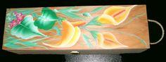 portabottiglia in legno con calle dipinte a mano