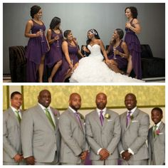 Nigerian wedding bridesmaids & groomsmen in purple